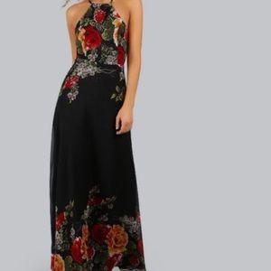 NWOT Shein Floral Halter Maxi Dress